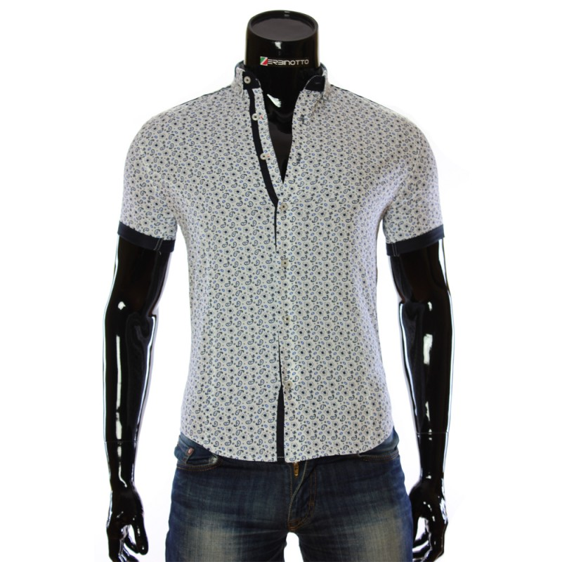 Чоловіча біла сорочка 1016-1 з принтом. Купити сорочку чоловічу f48e1e82e8523