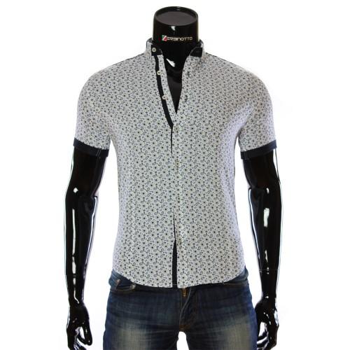 Мужская рубашка с коротким рукавом в узор LL 1016-1