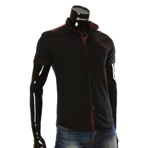 Мужская однотонная рубашка с коротким рукавом LL 1022-5