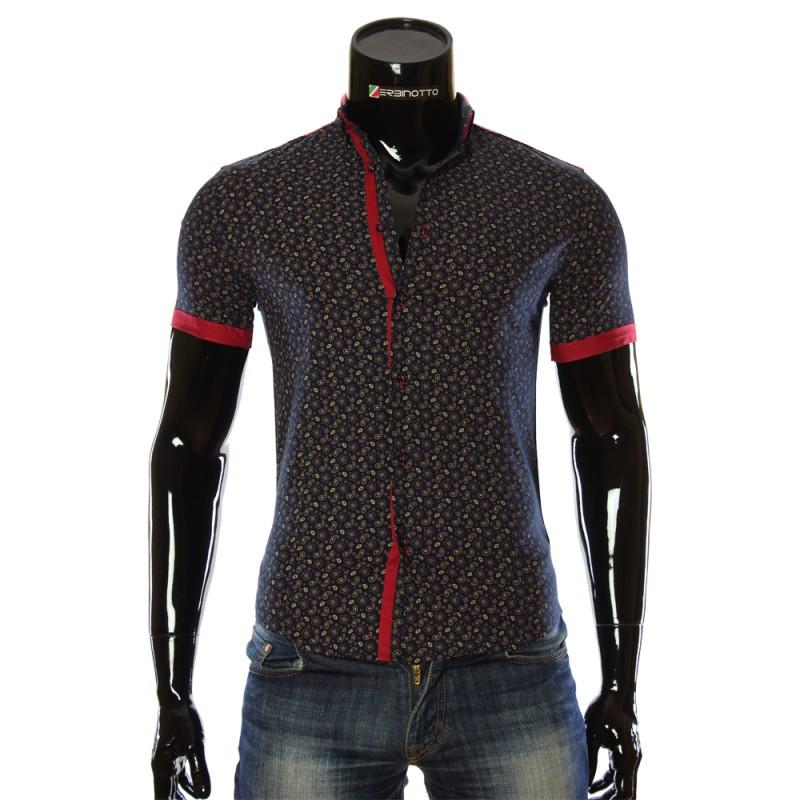 Мужская рубашка с коротким рукавом в узор LL 1016-2
