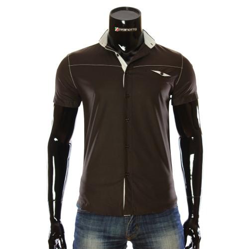 Чоловіча однотонна сорочка з коротким рукавом LL 1022-2