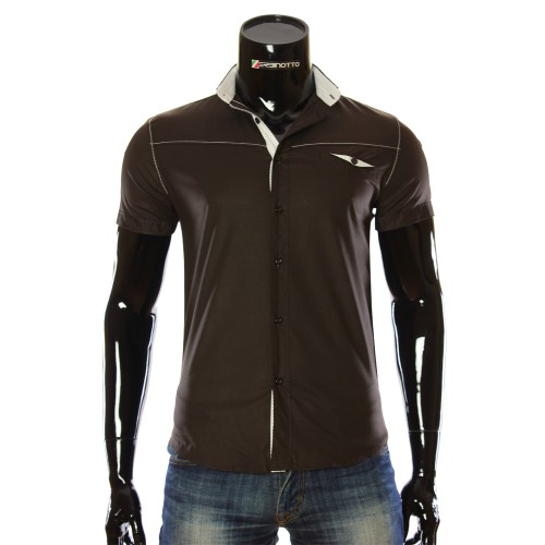 Men`s Slim Fit plain shirt with short sleeve LL 1022-2