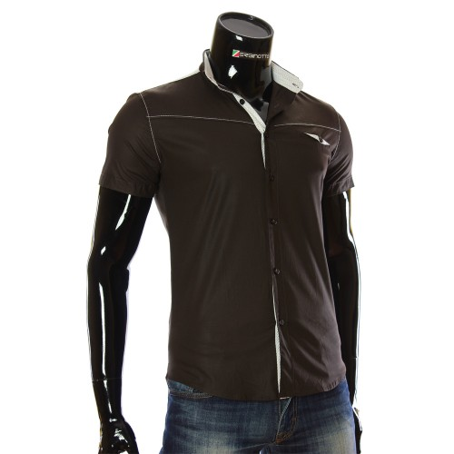 Мужская однотонная рубашка с коротким рукавом LL 1022-2