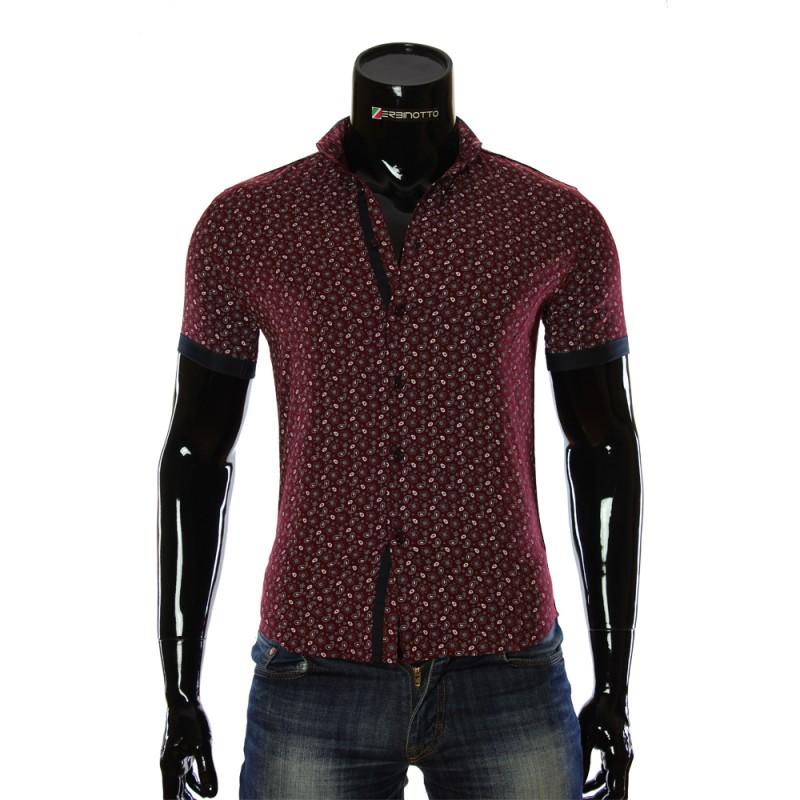 fc08c595c Мужская бордовая рубашка 1016-4 с принтом. Купить рубашку мужскую