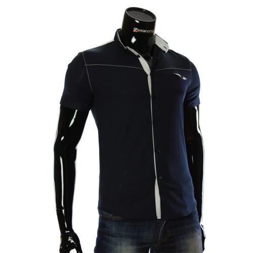 Мужская однотонная рубашка с коротким рукавом LL 1022-1