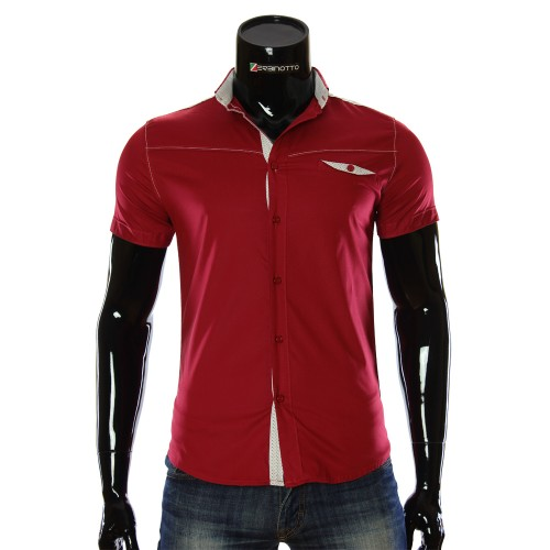 Мужская однотонная рубашка с коротким рукавом LL 1022