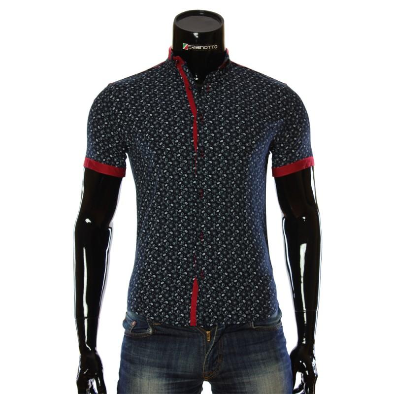 Чоловіча синя сорочка 1016-5 з принтом. Купити сорочку чоловічу 8f70287a97212