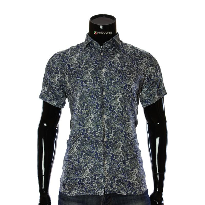 Мужская рубашка с коротким рукавом в узор RV 1950-1