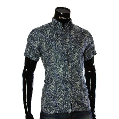 Чоловіча сорочка з коротким рукавом у візерунок RV 1950-1
