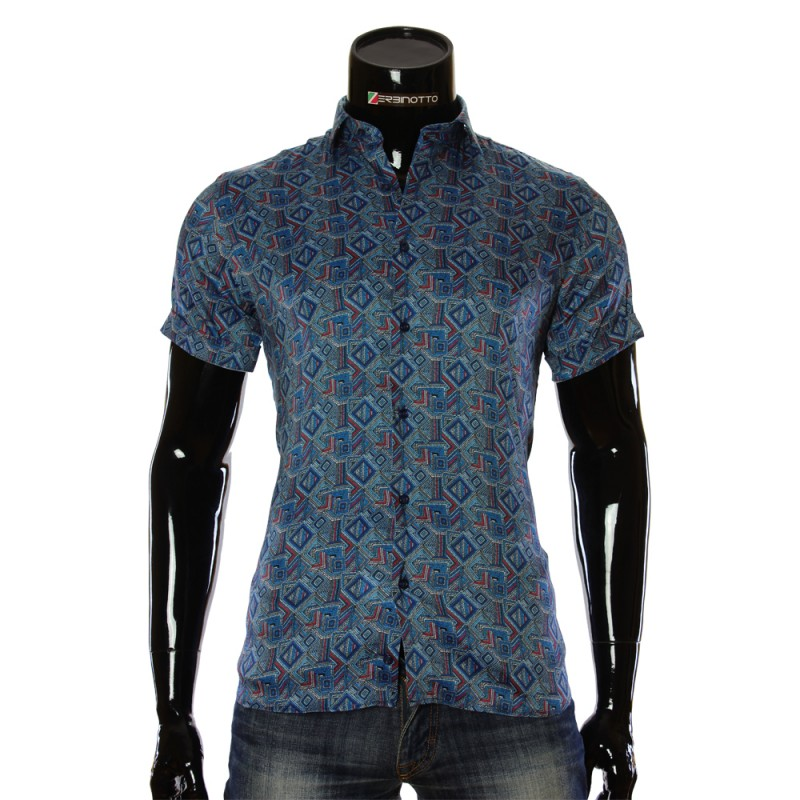 Мужская рубашка с коротким рукавом в узор RV 1950-3