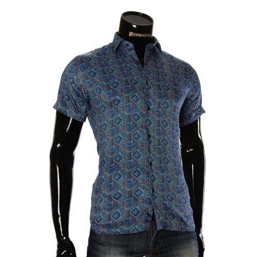 Чоловіча сорочка з коротким рукавом у візерунок RV 1950-3