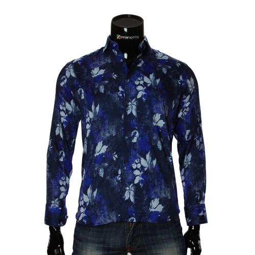 Мужская приталенная рубашка в узор RV 1951-1