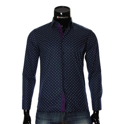 Мужская приталенная рубашка в узор RV 1951-2