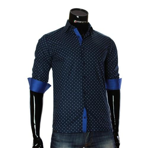 Мужская приталенная рубашка в узор RV 1951-3