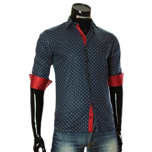 Мужская приталенная рубашка в узор RV 1951-4