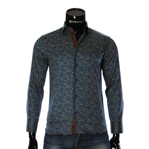 Мужская приталенная рубашка в узор RV 1952-2