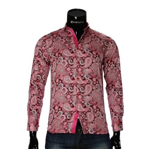 Мужская приталенная рубашка в узор RV 1952-3