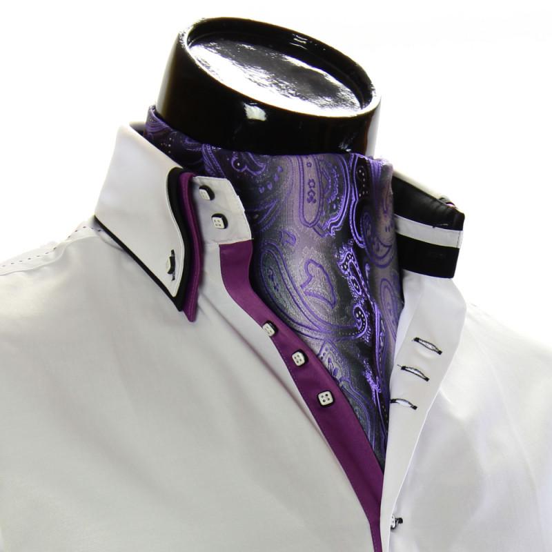 c4139800a7c Мужской сиреневый аскот с отливом RM 9030-30. Купить платок аскот.