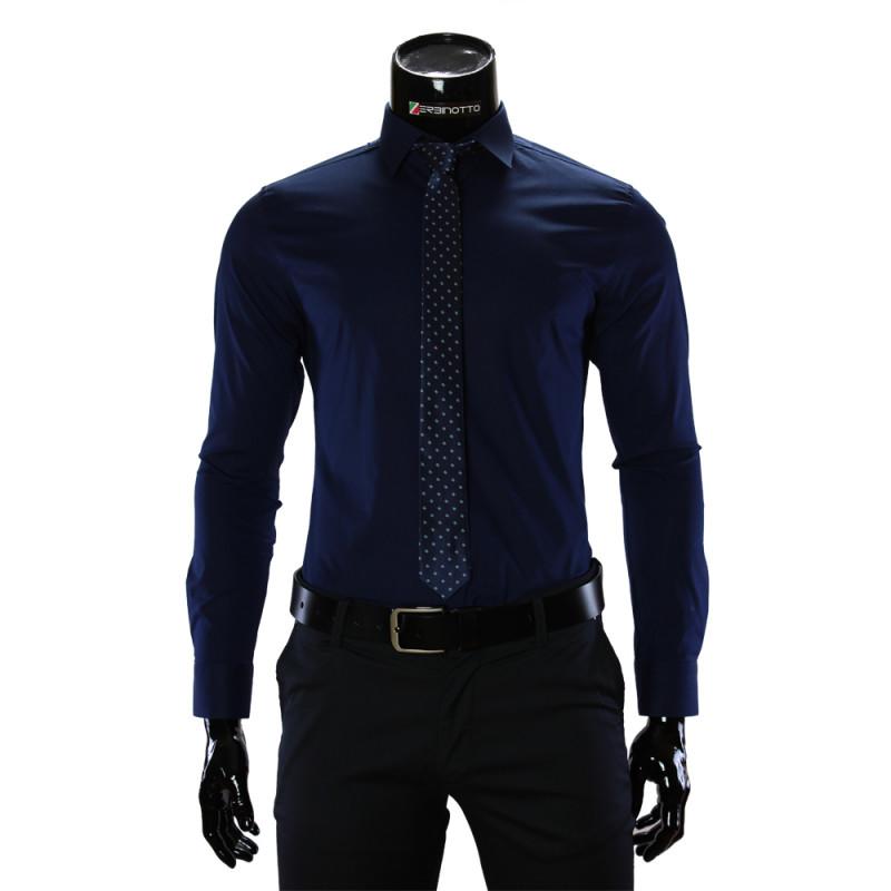 Мужская однотонная приталенная рубашка GF 9009
