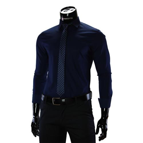 Чоловіча однотонна приталена сорочка GF 9009