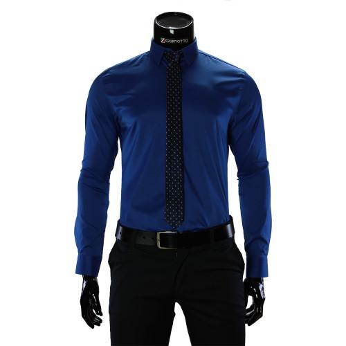 Мужская однотонная приталенная рубашка GF 1422