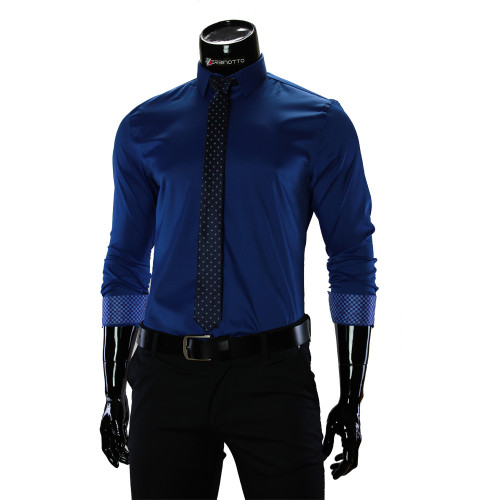 Чоловіча однотонна приталена сорочка GF 1422