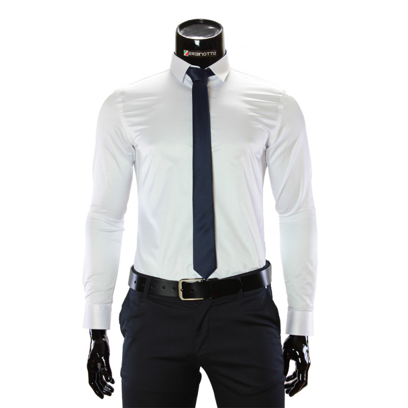 Мужская однотонная приталенная рубашка GF 4002
