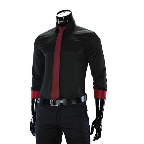 Мужская однотонная приталенная рубашка GF 3016
