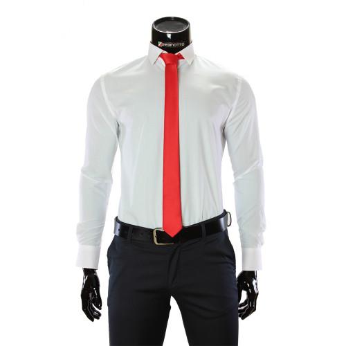 Мужская однотонная приталенная рубашка GF 0411-44