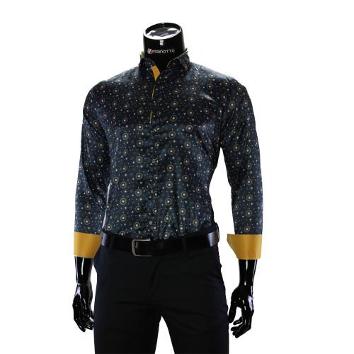 Мужская приталенная рубашка в узор RV 1952-4