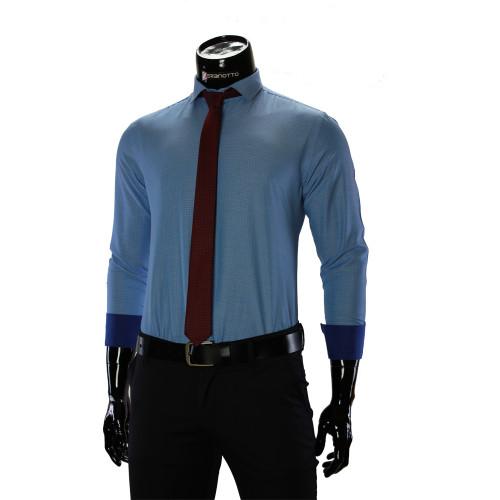 Мужская однотонная приталенная рубашка RV 1955-3