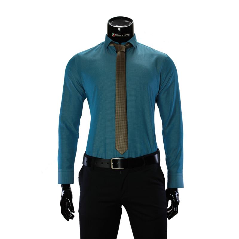Чоловіча однотонна приталена сорочка RV 1955-4