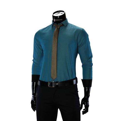 Мужская однотонная приталенная рубашка RV 1955-4