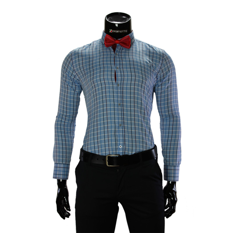 Мужская приталенная рубашка в клетку RV 1955-7