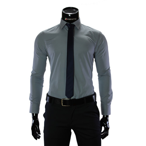 Чоловіча однотонна приталена сорочка RV 1955-2