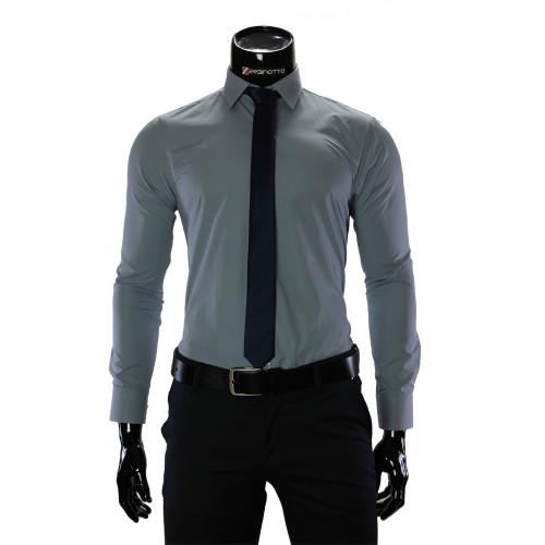 Мужская однотонная приталенная рубашка RV 1955-2