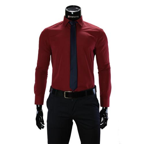 Мужская однотонная приталенная рубашка RV 1955-8