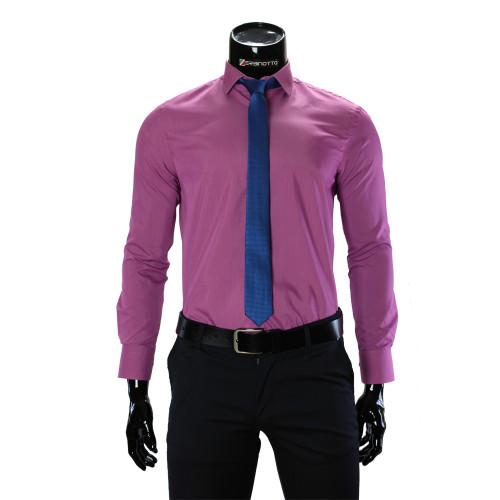 Мужская однотонная приталенная рубашка RV 1955-9