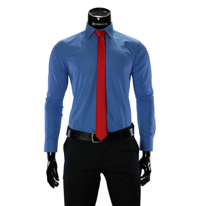Мужская однотонная приталенная рубашка RV 1955-1