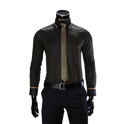 Чоловіча однотонна приталена сорочка BEL 1856-11