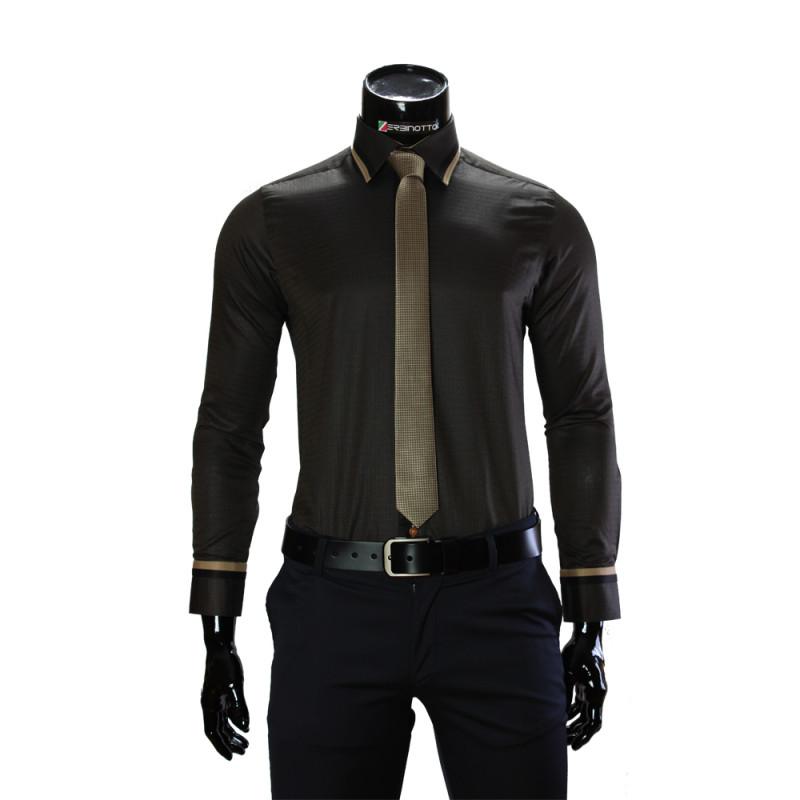 Мужская однотонная приталенная рубашка BEL 1856-11