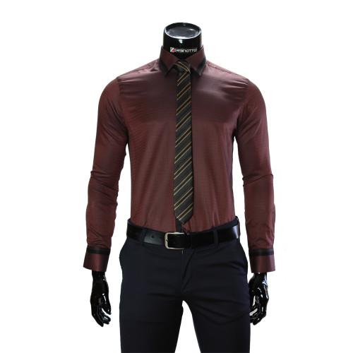 Мужская однотонная приталенная рубашка BEL 1856-33