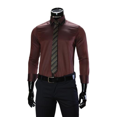 Чоловіча однотонна приталена сорочка BEL 1856-33