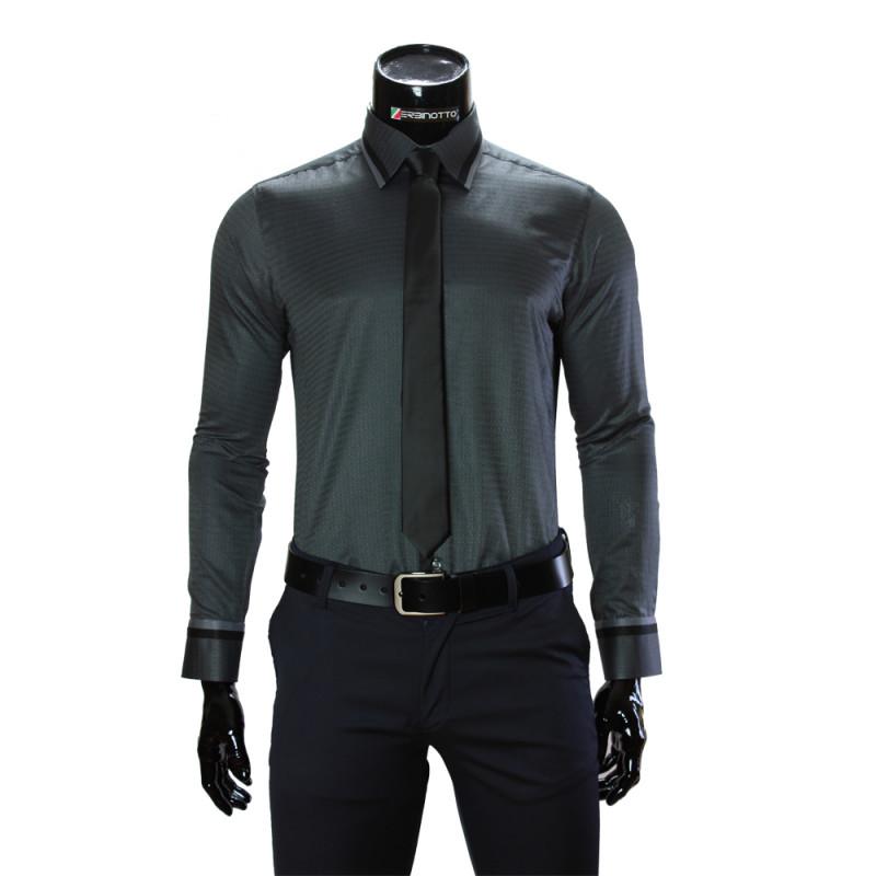 Мужская однотонная приталенная рубашка BEL 1856-44