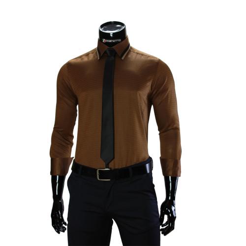 Мужская однотонная приталенная рубашка BEL 1856-55