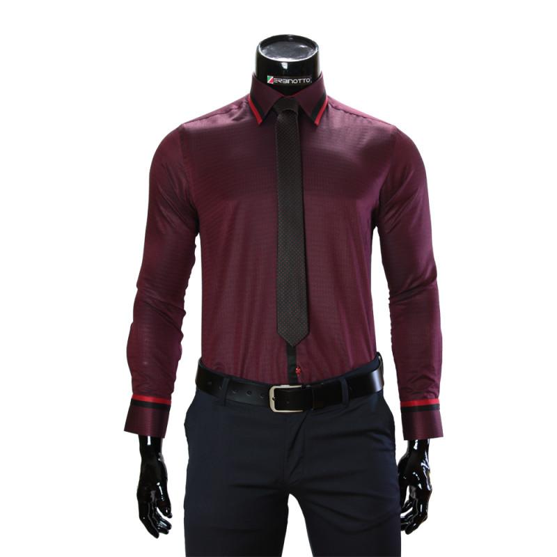 Мужская однотонная приталенная рубашка BEL 1856-66
