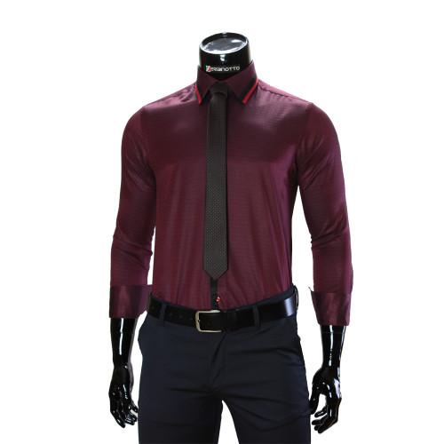 Чоловіча однотонна приталена сорочка BEL 1856-66