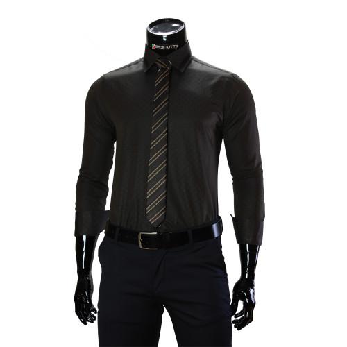 Мужская однотонная приталенная рубашка BEL 1856-99