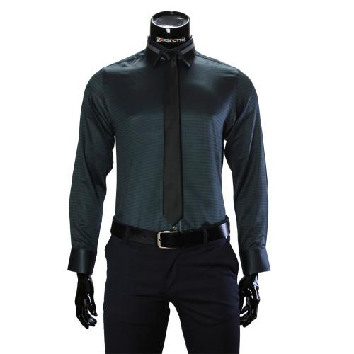 Мужская однотонная приталенная рубашка BEL 1857-11