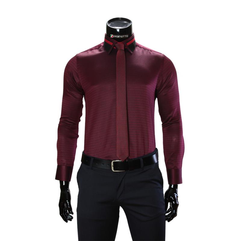 Мужская однотонная приталенная рубашка BEL 1857-44